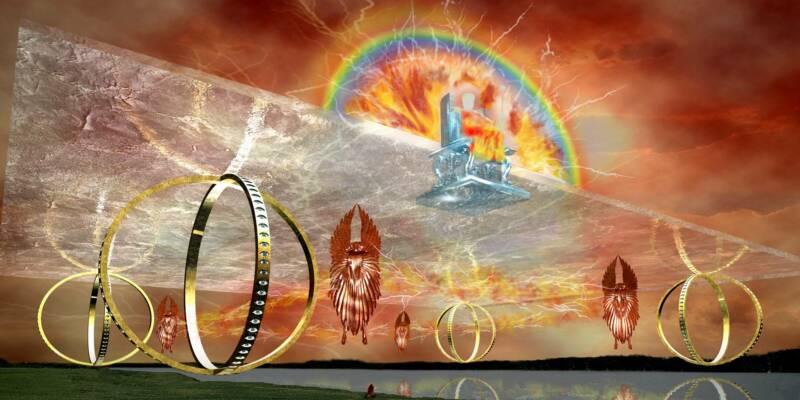 上图:以西结所见四活物的想象图。四个活物高举一个平台,上面有神的宝座,就像神的战车。