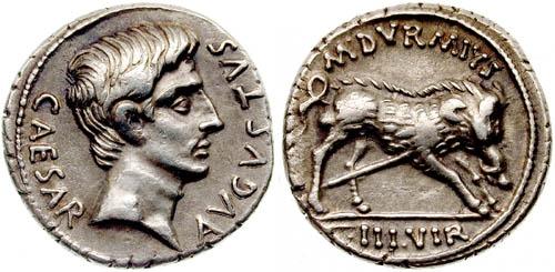 上图:罗马帝国铸造的银币得拿利乌Denarius有许多种款式,都有该撒奥古斯都皇帝的头像和名号。上图款式一面是头像和名号,另一面是野猪图案。