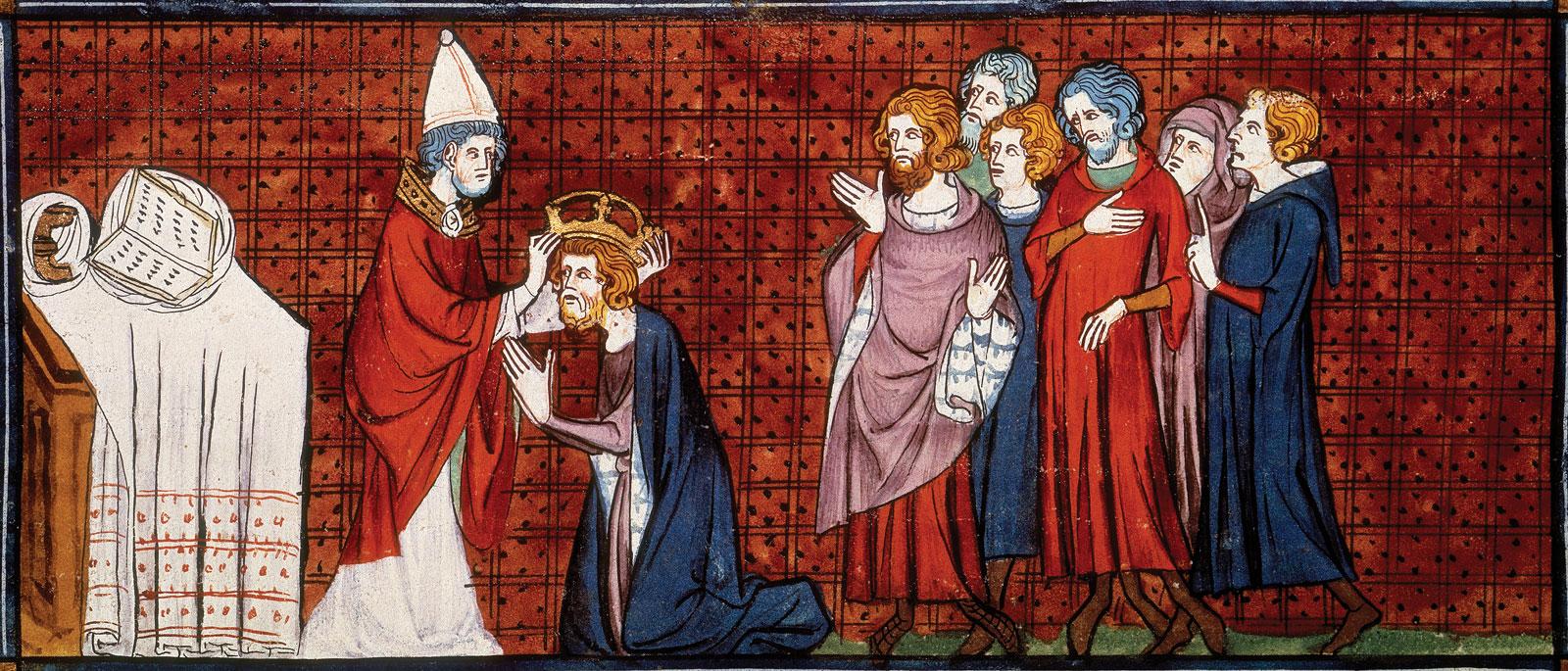 上图:描述主后800年罗马教宗利奥三世把法兰克王查理加冕为神圣罗马帝国皇帝的14世纪法国壁画。