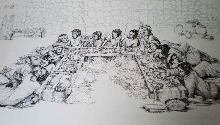 上图:耶稣时代犹太人的逾越节筵席落座方式示意图,他们都斜躺着,表示脱离埃及奴役后的自由。