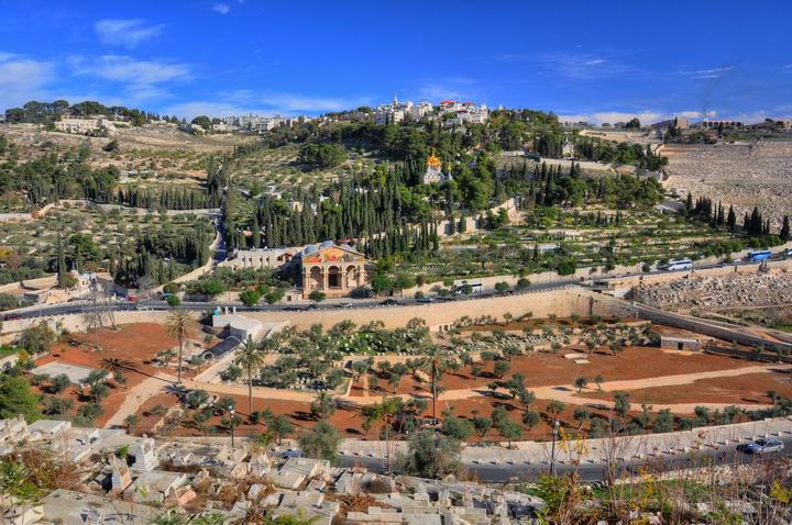 上图:在耶路撒冷城墙上东望橄榄山。