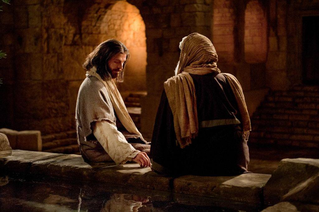 上图:尼哥德慕夜访耶稣的剧照。