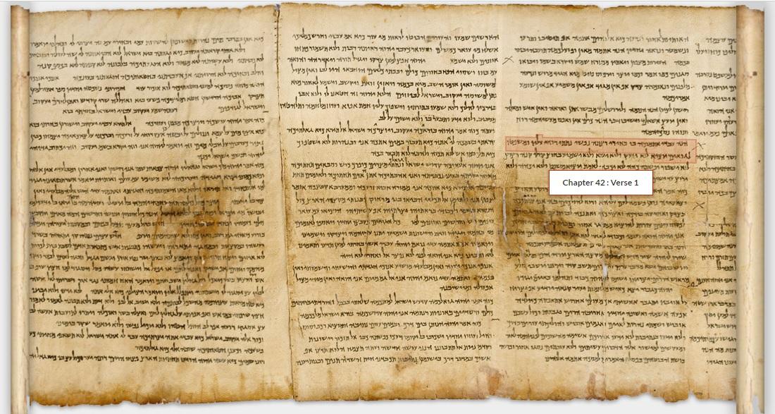 上图:1947年昆兰洞穴发现的死海古卷以赛亚书卷之62章1-2节。以赛亚书卷包含了希伯来圣经中的66章,抄写于主前125年之前,是死海古卷中最古老的一卷书,主耶稣时代的以赛亚书可能就是上图中的样式。原件存于耶路撒冷以色列博物馆。