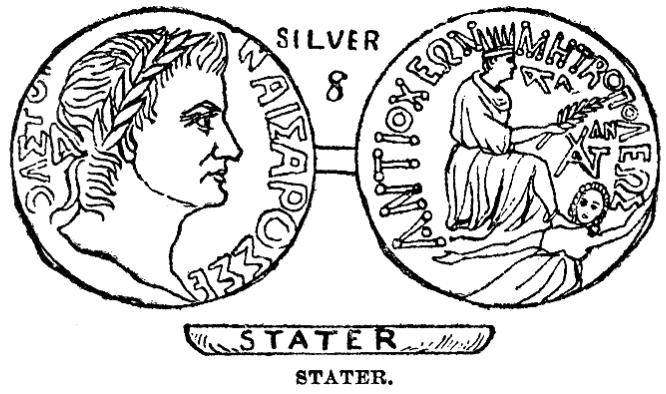 上图:彼得从鱼口中得的「一块钱」,就是这种古希腊银币斯达特Stater,一个斯达特折合两个第徳拉克马Didrachma,可以支付两个人的丁税。