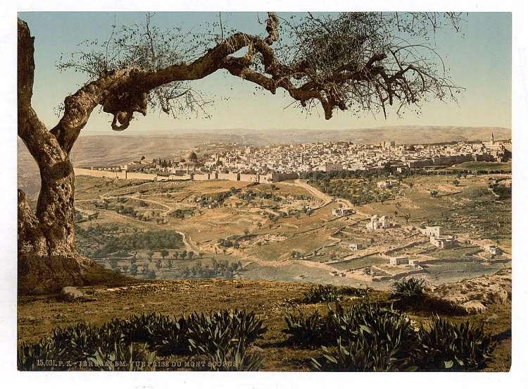 上图:1890年从Scopus山向西南俯瞰耶路撒冷。现藏于美国国会图书馆。