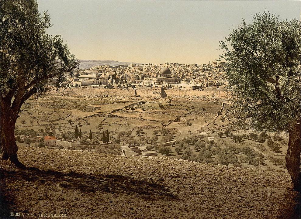 上图:1890年拍摄的从橄榄山俯瞰耶路撒冷照片。现藏于美国国会图书馆。