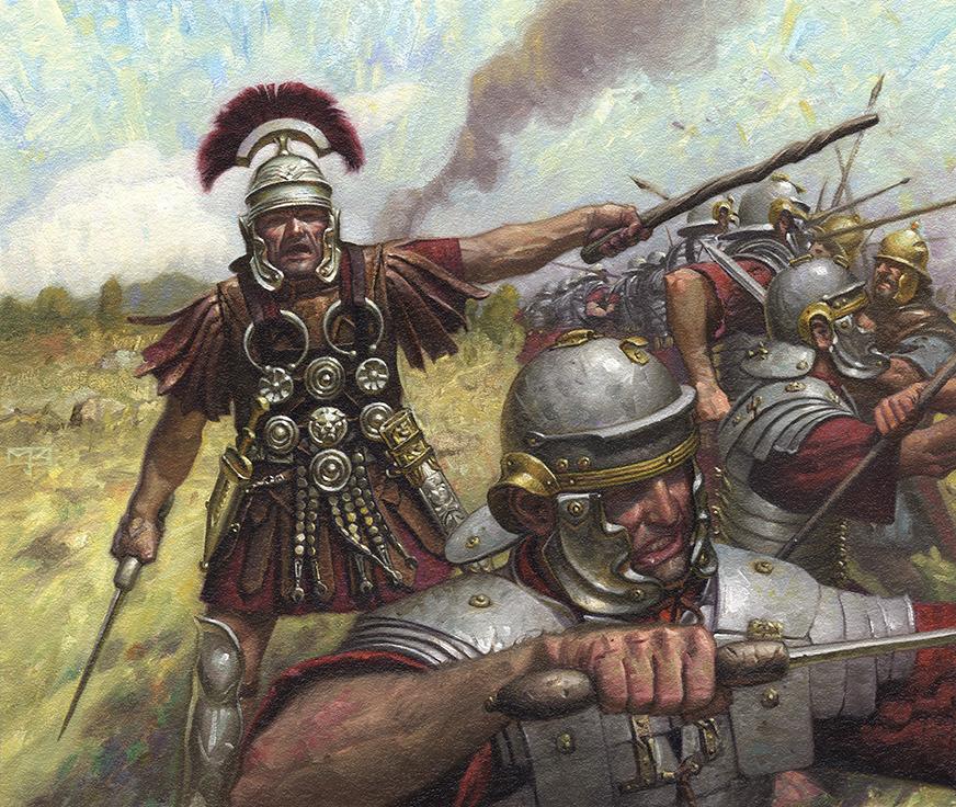 上图:百夫长是罗马军团中最重要的职业军官,平时负责训练,战时负责指挥。普通百夫长相当于今日的中尉,领导一个百人队,首席百夫长则相当于今日的上校。要想成为百夫长,必须获得数位重要人物的推荐信,年满30岁,具备读写能力,所以百夫长都具有良好的社会地位和丰富的经验,受教育程度比较高,因此那位寻求主耶稣的百夫长的谦卑和信心非常特别。百夫长会拿着一根藤制的短权杖作为其权力象征,并在训练时用以鞭打士兵,以严格的训练和严厉的惩罚确保罗马军队的军纪和战斗力,战时则身先士卒,因此他们对权柄的理解非常深刻。百夫长最显著的标志是头顶上的马毛或羽毛装饰,与普通士兵不同,他们的饰板是横排而不是纵列。