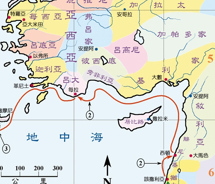 上图:保罗一行搭乘亚大米田的船(徒二十七2),沿岸经过西顿,到达每拉,换成亚历山大的大船(徒二十七6)。
