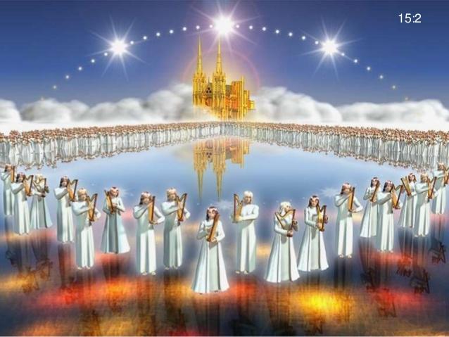 上图:得胜者们站在有火搀杂的玻璃海上,拿着神的琴。(艺术想象图)
