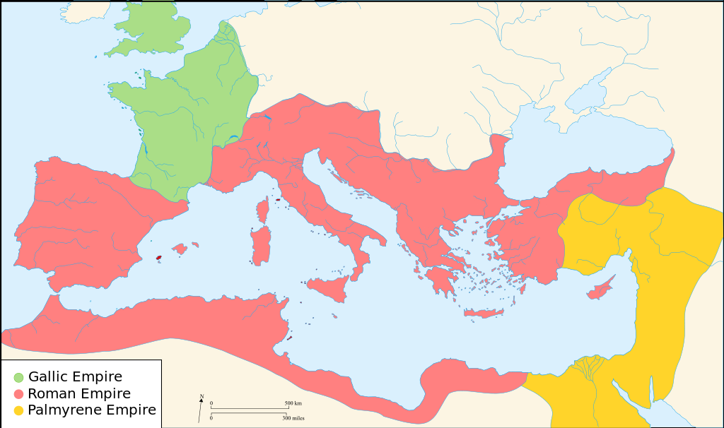 上图:主后271年,三世纪危机到达顶点,罗马帝国被分裂成三部分。