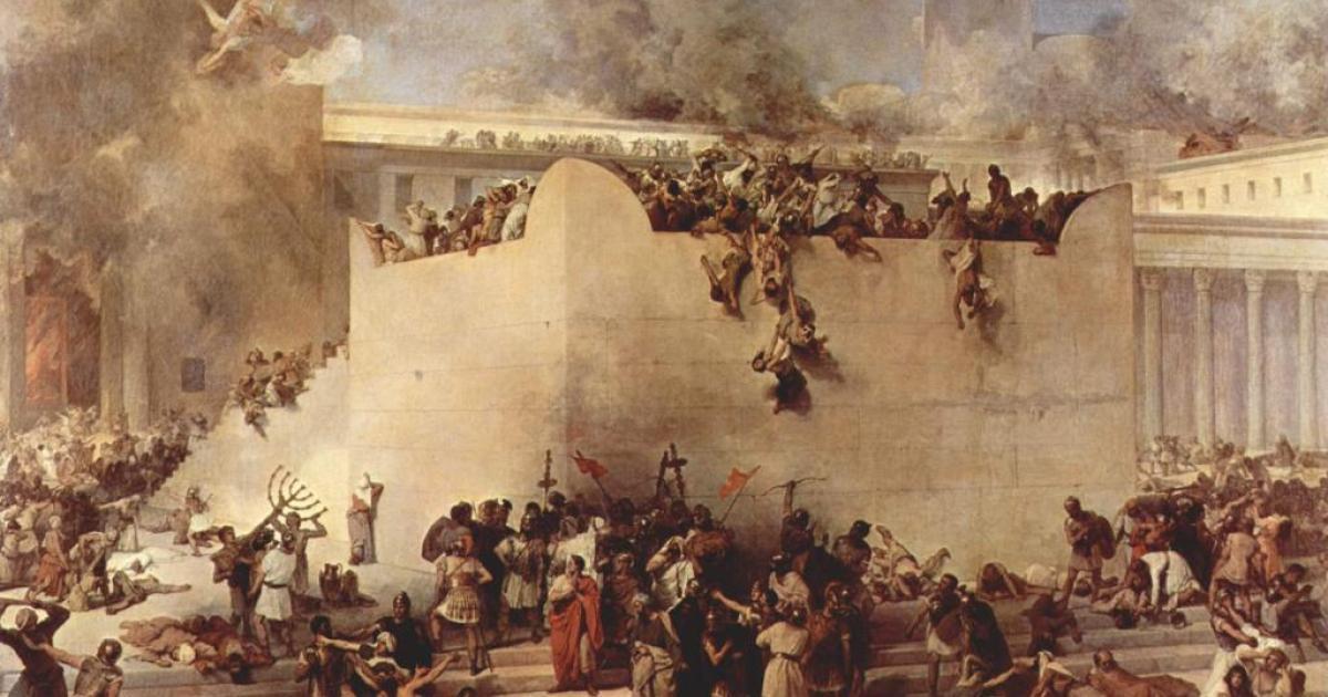 上图:主后70年埃波月第九日,罗马军队攻陷耶路撒冷。十九世纪Francesco Hayez的油画描绘了圣殿被毁、金灯台被夺的情景。