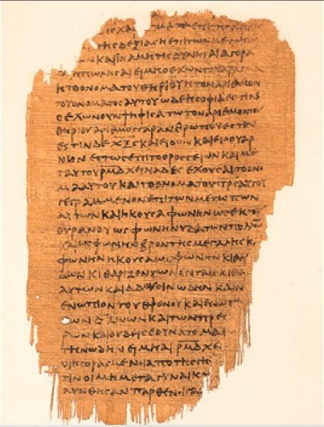 上图:主后250年左右的蒲草纸手抄稿P47,上面包括启示录九10-十一3,十一5-十六15,十六17-十七2。出土于埃及,现收藏于都柏林的Chester Beatty图书馆。