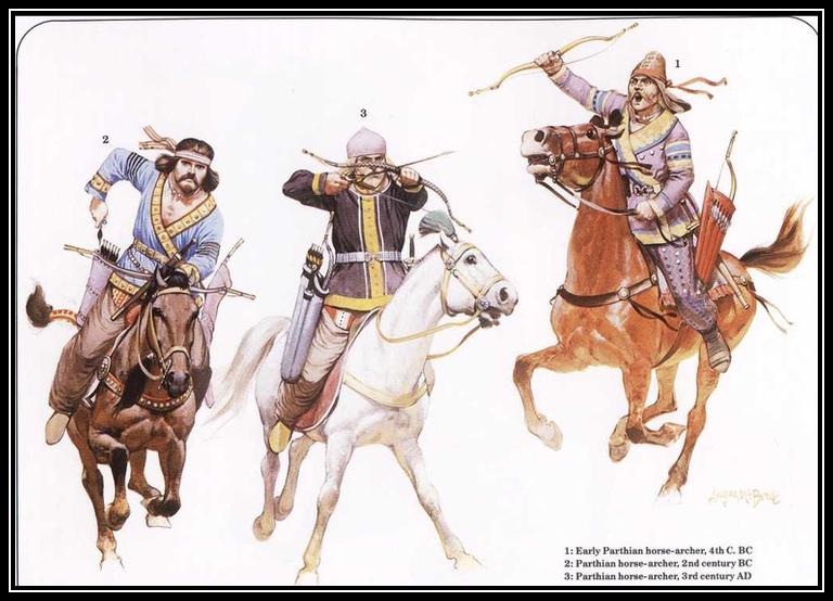 上图:帕提亚骑射兵。崛起于波斯帕提亚的安息帝国与罗马帝国、贵霜帝国、中国汉朝并称欧亚大陆四大帝国,是初期教会时代唯一能与罗马帝国抗衡的强敌。