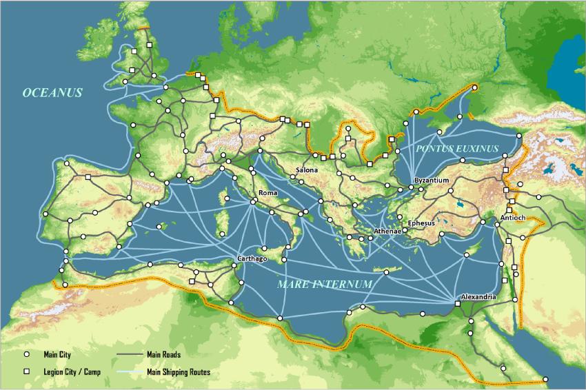 上图:主后125年罗马帝国的主要贸易和交通路线。海上运输是罗马帝国赖以维持统治和奢华生活的生命线,因此,对于罗马帝国的居民来说,在新天新地里「海也不再有了」(启二十一1),实在是非常震撼的一件事。