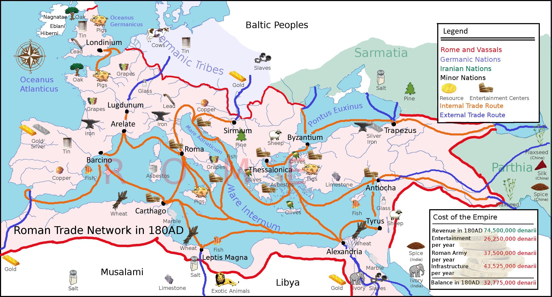 上图:主后180年罗马帝国的贸易网络和商品。来自欧、亚、非大陆各地的商品最后通过地中海的船队运到罗马,无数人靠着这个贸易网络谋生。
