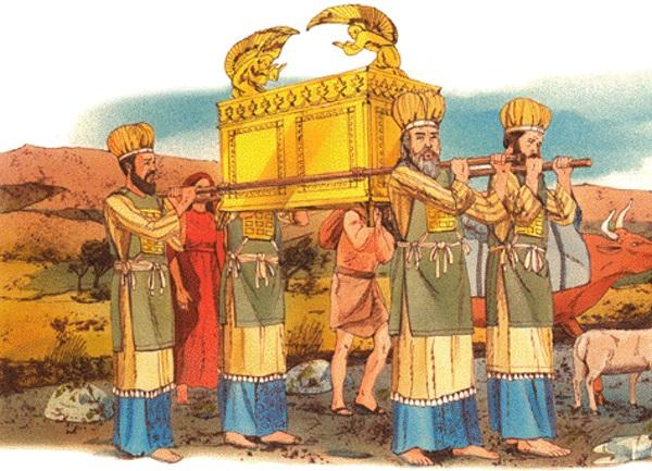 上图:祭司抬着约柜的想象图。