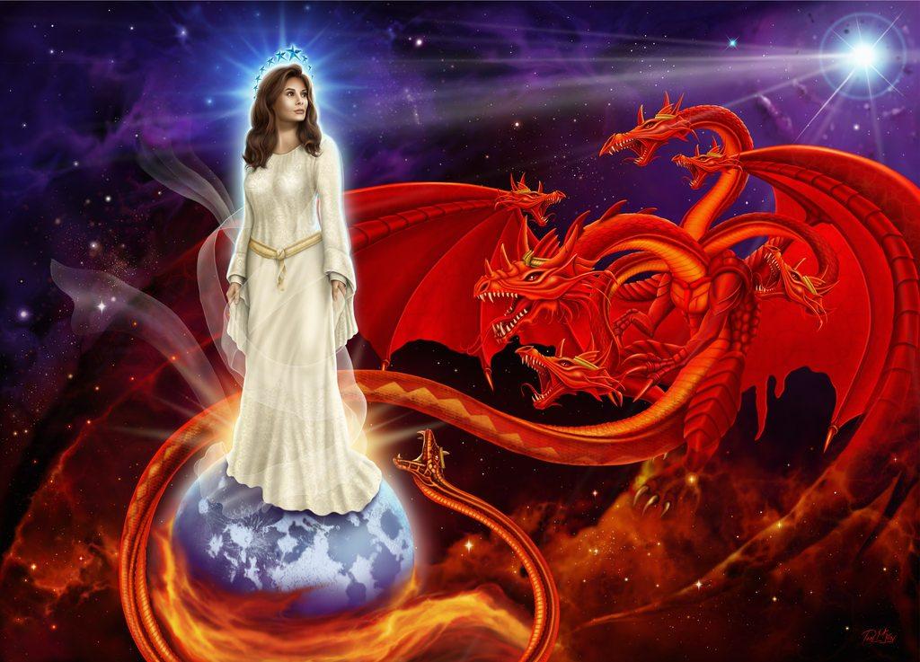 上图:十二星冠妇人与大红龙的异象。