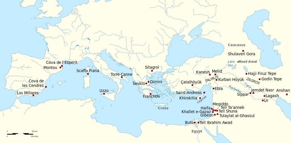 上图:发现新石器时代、红铜时代和青铜时代早期酿酒和橄榄种植遗迹的考古地点。葡萄酒的历史与农业有非常紧密的连结,在美索不达米亚、以色列、腓尼基、埃及、希腊、罗马等古文明中,葡萄和葡萄汁所发酵的饮品占据了生活中很重要的一部分。
