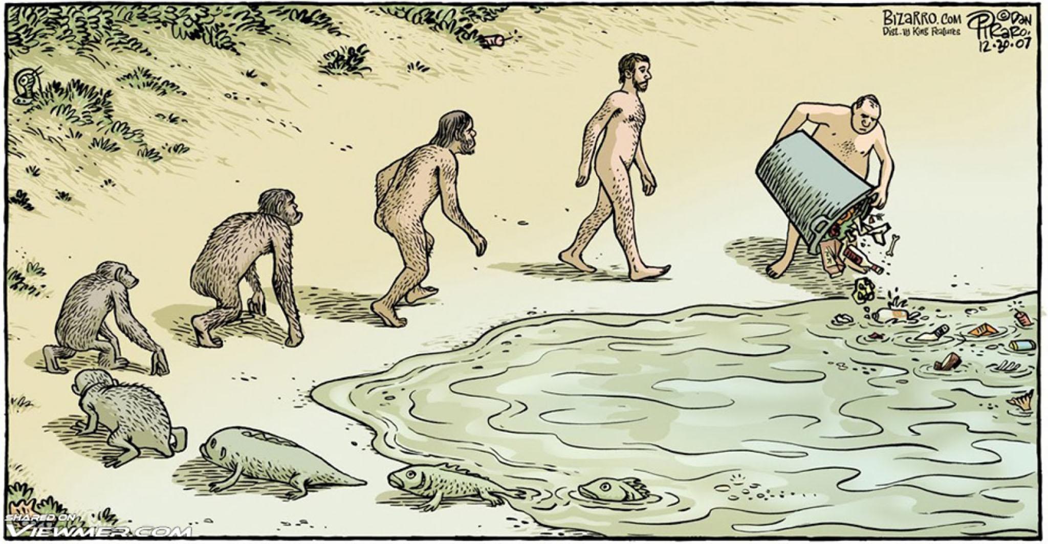 上图:这幅漫画讽刺进化论者不必为污染环境负责任,只要自己能生存就行。创造论和进化论是两种完全不同的思想,都需要凭信心来接受,每个人都必须凭信心做出抉择: 1、创造论相信人是按着神的形象被造的,每个人都有道德性,与动物不同,属灵的需要高过肉体的需要;进化论相信人是猿猴进化来的,与动物没有两样,提倡道德、精神不过是为了满足肉体的需要。 2、创造论相信所有的人都有同一个祖先,都是亲戚,彼此应该和平、友爱;进化论相信人是各地的猿猴分别进化来的,为了生存,应该不断竞争、征服。 3、创造论相信人生有神所赋予的目的,应该善用恩赐、管理环境,准备为自己的责任和义务向神交账;进化论相信人是随机碰撞、进化的结果,人生没有目的,应该放纵自己、掠夺环境,及时行乐、享受人生。 4、创造论相信神关心、供应、看顾受造物,每个人都应该成为传递神祝福的管道,照顾老弱病残,因为神不断挽回、拯救失败者;进化论相信一切都要靠自己的奋斗和运气,物竞天择、适者生存(Survival of the Fittest),不适应的老弱病残和失败者应该被淘汰,这样社会才能进步。 5、创造论相信神按着自己的形象造人;进化论相信人可以随自己的想象创造神。 6、创造论相信神是主宰,人应该顺服神的权柄;进化论相信人是主宰,权势大的人说了算。 7、创造论相信有绝对的真理和是非标准,行公义就有大能;进化论相信真理是相对的,所以成功者做什么都是对的。 8、创造论相信人是天父的孩子,应该完全地信靠、依赖神;进化论相信人类已经成年,可以独立自主、人定胜天。 9、创造论相信人已经堕落,世界的趋势是越来越败坏,但信神的人可以进入天国;进化论相信人类在进步中,世界的趋势是越来越美好,但所有的人都是死路一条。