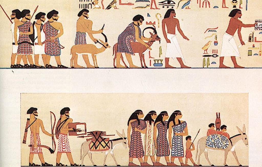 上图:主前20世纪古埃及贵族克努姆霍特普二世(Khnumhotep II)的墓穴壁画,画着37个亚伯拉罕同时代的闪族人在其首领Absha的带领下进入埃及。这些闪族人涂着当时流行的黑眼圈,男人留着闪族独特的胡子,穿着彩色条子的长衣,足履便鞋。他们携带茅、标枪、弓箭作为武器,还有一个人跟在驴子后面弹着七弦琴。各种其他记录也表明,当没有河流的迦南地发生饥荒的时候,他们就可能进入可以被尼罗河润泽的埃及东部躲避饥荒。