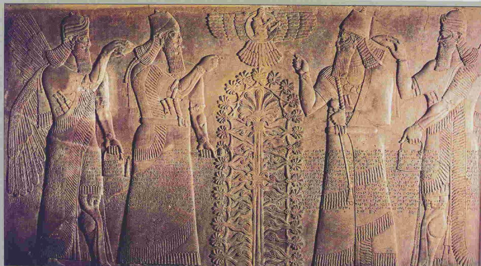 上图:新亚述时代(Neo-Assyrian)的生命树浮雕。出土于伊拉克北部尼姆鲁德(Nimrud,即宁录)阿淑尔纳西尔帕二世(Ashurnasirpal II,主前883–859年在位)的宫殿。