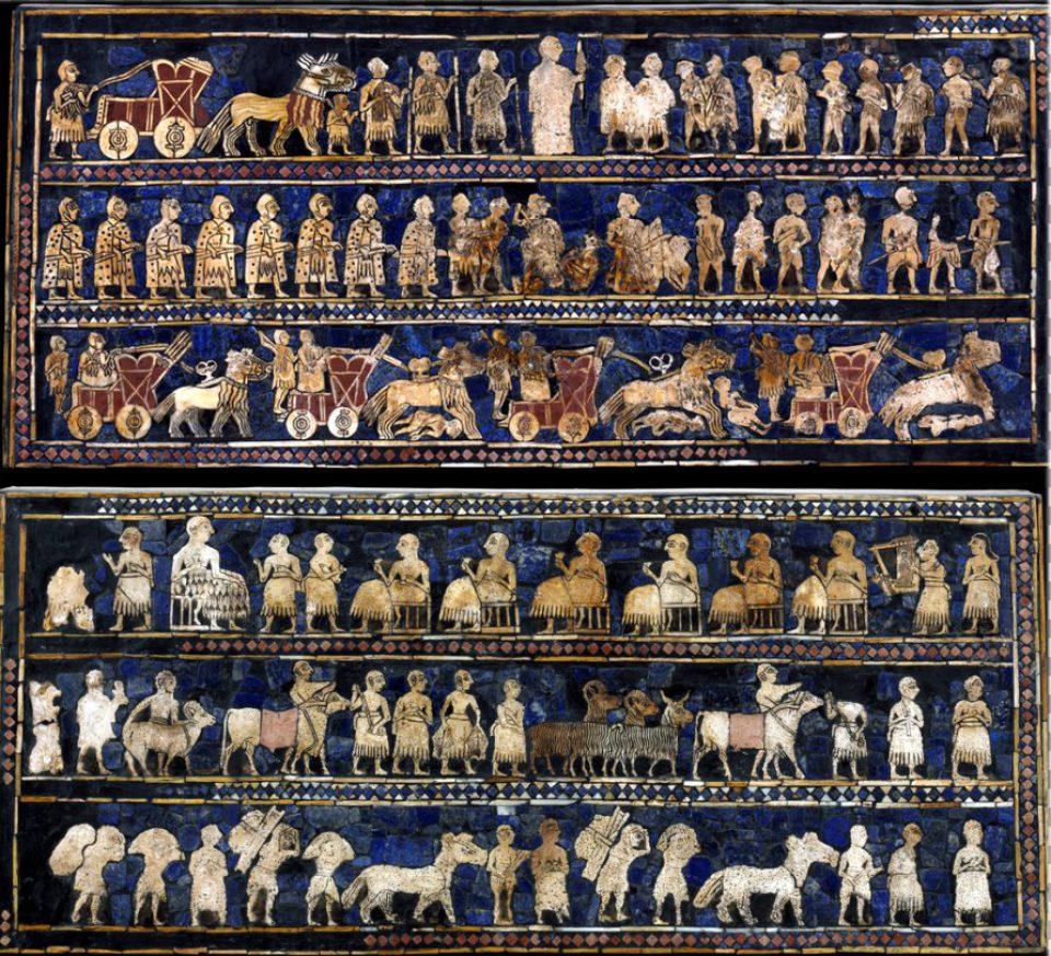 上图:「吾珥军旗 The Standard of Ur」两侧的图案。吾珥出土的「吾珥军旗」是一个木盒,盒子两侧镶嵌了极为精致的马赛克,一侧是战争和胜利的场面,另一侧是和平和宴会的场面,可以看出在亚伯拉罕出生前400多年,吾珥已经具有相当高的物质文明和艺术水平。但神却要他抛下这一切,前往当时的蛮荒之地迦南。原件制作于主前2600年,现存于大英博物馆。