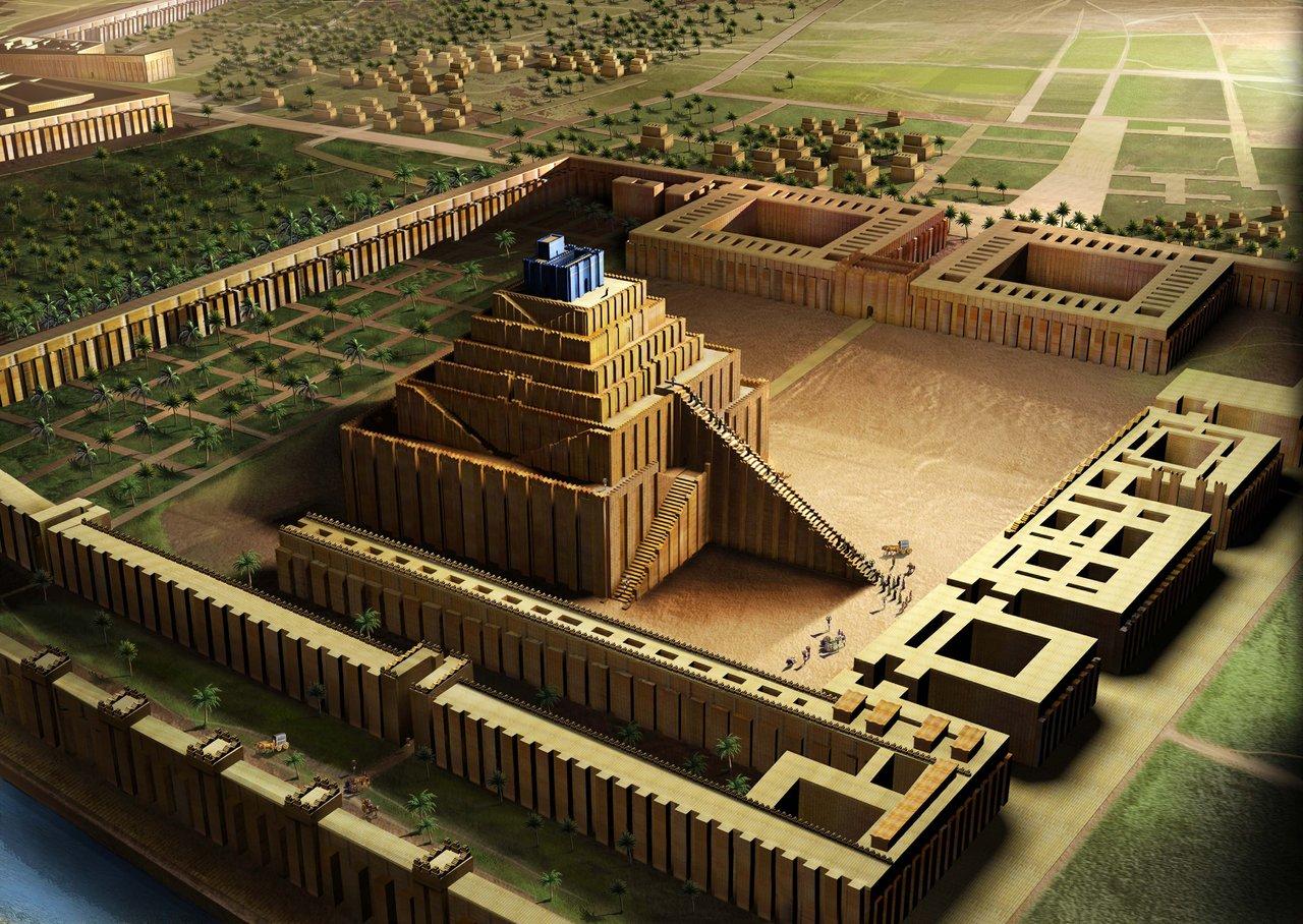 上图:主前610年新巴比伦帝国的巴比伦塔庙(Ziggurat)示意图。每个美索不达米亚早期城市都有一个塔庙,作为城市守护神从天而降的阶梯。塔庙于主前4000年由苏美尔人的高台演化而来,苏美尔人、巴比伦人、埃兰人、阿卡德人和亚述人都曾建造塔庙,高度从两层到七层不等。塔庙的造法基本相同,内部用晒制砖填充,每隔一定高度就铺上一层芦苇席,外壳以沥青作胶泥,用烤制砖砌成,国王的名字有时会刻在这些砖头上。希腊史学家希罗多德(主前484-425年)所描述的巴比伦塔庙有7层,高91米,占地91米x91米,顶端有神龛,是当时这个地区最高、最显眼的建筑,用来敬拜巴比伦的守护神马尔杜克。主前330年,亚历山大下令铲平这座塔庙,以便在原址上建造他的陵墓。结果壮志未酬身先亡,重建计划成了烂尾工程。