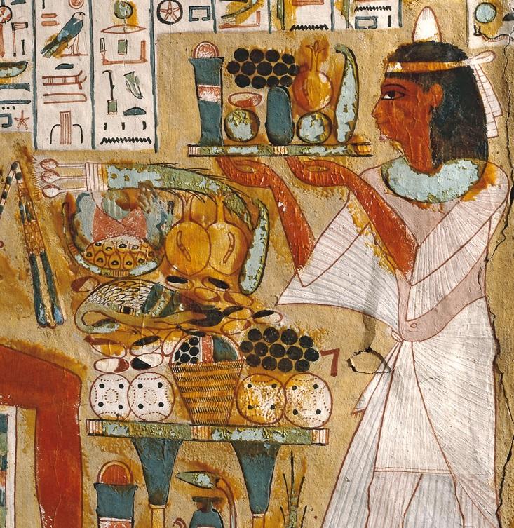 上图:主前11世纪古埃及壁画上的食物。现藏于大英博物馆。