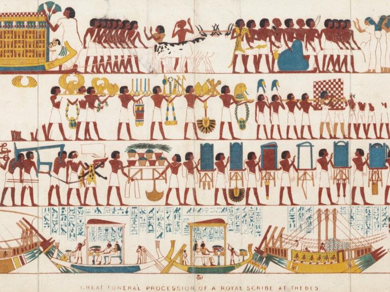 上图:古埃及底比斯(Thebes)一个皇家抄写员(Royal Scribe)的送葬队伍。