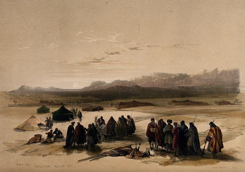 上图:1849年的一封版画,远处是西珥山。西珥山是约旦高原从死海到亚喀巴湾之间海拔1000多米的一片山区,不在应许之地的范围内。
