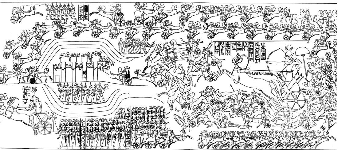 上图:主前1274年的加低斯战役(Battle of Kadesh),是人类历史上最早有详细记录的战役。关于这次战役的记录指出,古埃及法老拉美西斯二世(Ramses II,主前1279-1213年在位)的军队分成4个师(Division),每个师分成20个连队(Company),每个连队分成5个排(Platoon),每个排有50人。因此,「千夫长、百夫长、五十夫长、十夫长」的组织模式很可能并不是源于埃及军队的模式,而是米甸祭司叶忒罗的建议。