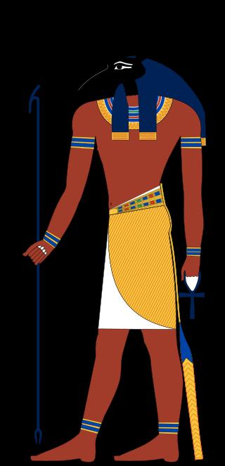 上图:古埃及神话中的沙漠和风暴之神塞特(Set, Seth),形象可能由食蚁兽、驴、豺狼综合而成。
