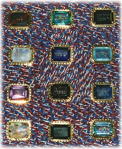 上图:以色列圣殿研究所制作的十二块宝石,刻着十二个支派的名字