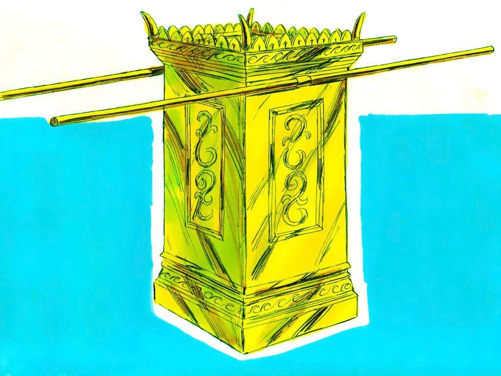 上图:金香坛示意图。金香坛并不像约柜和陈设饼桌那样在四脚上有四个金环,而只有「两个金环安在牙子边以下,在坛的两旁,两根横撑上,作为穿杠的用处,以便抬坛」(出三十4)。这个设计非常特别,因为「两个金环」并不容易维持平衡,抬的时候需要加倍小心。