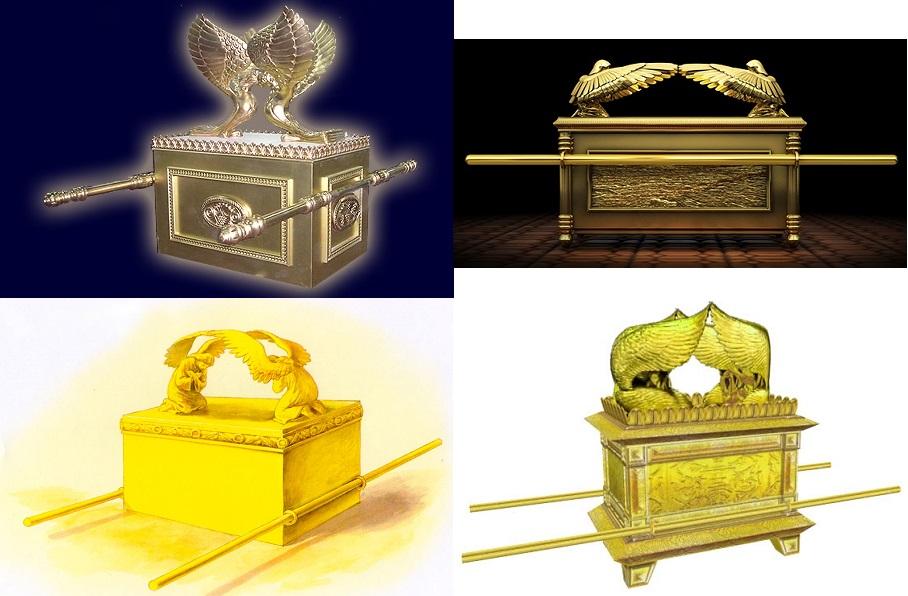 上图:四种现代人想象的约柜样式,出现了四种不同的金环位置,各有各的理由。可见要严格地遵照山上的样式,实在不是一件容易的事情。