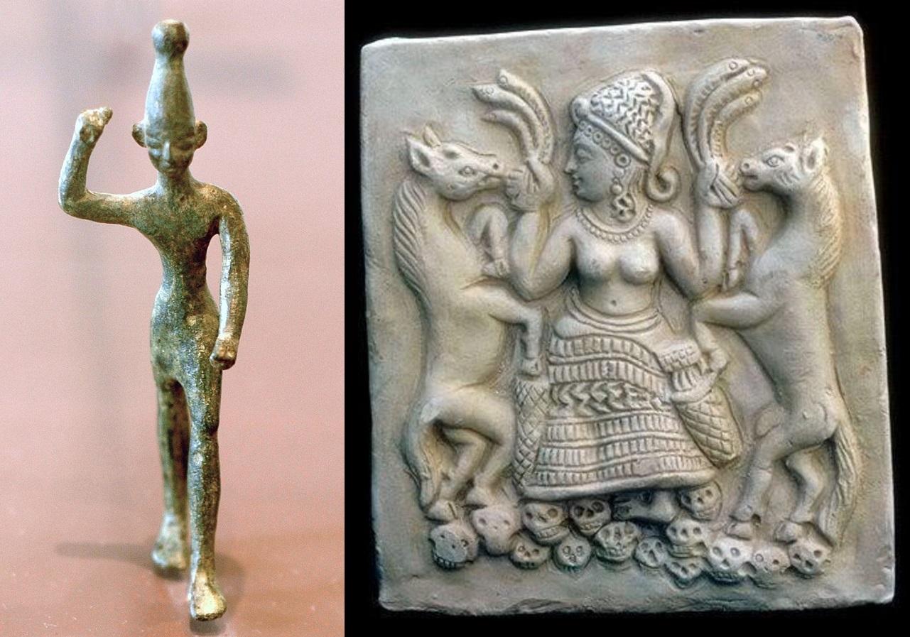 上图:巴力和亚纳特。在迦南的宗教中,巴力(Baal)是雨水与农作物的神,每年的雨季就是巴力战胜大水与海洋带来的雨水,旱季就是巴力被死亡与干旱之神摩特(Mot)杀害。而巴力的配偶亚纳特(Anath)把摩特打败之后,巴力又复活,重新带给大地雨水。迦南人认为秋季的雨量与春季的作物发芽,都是因为巴力与其配偶交合所带来的繁殖力量。因此,行淫成为巴力崇拜仪式中的重要一环,关系到牲畜的多产、农业的丰收,所以为了促进巴力与其配偶繁殖的力量,迦南人要与神庙中的庙妓行淫。