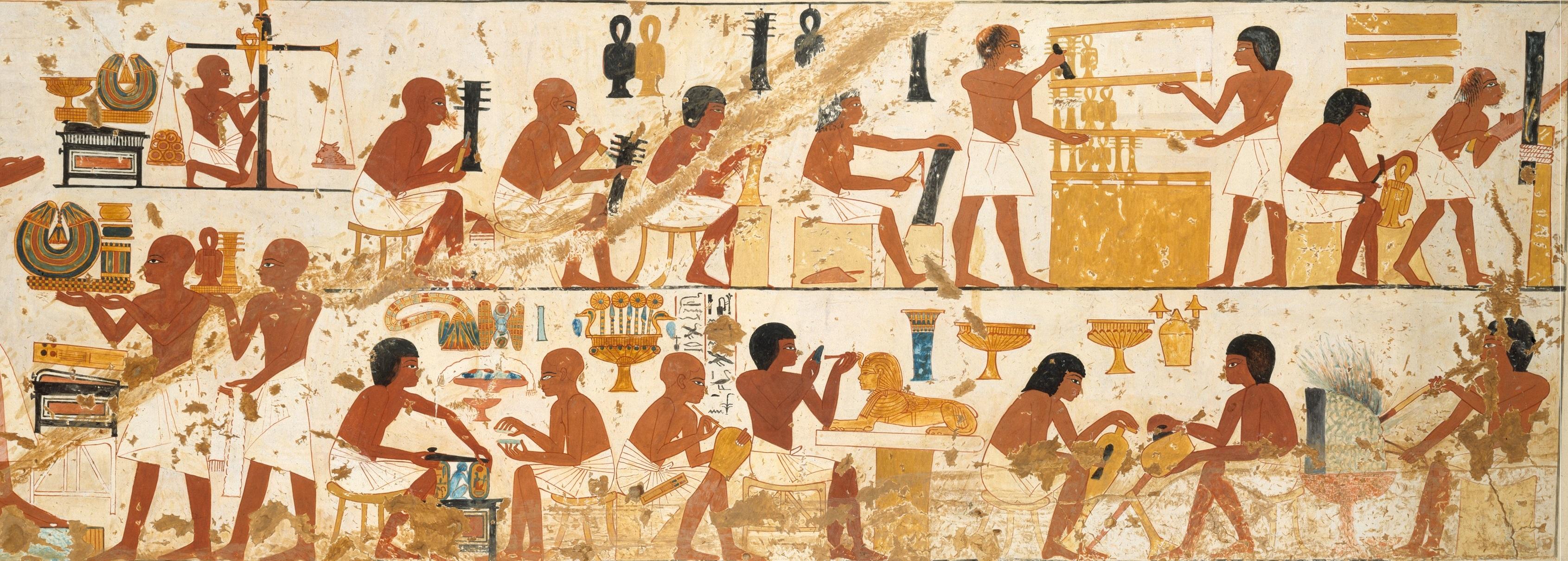 上图:古埃及第十八王朝TT181号墓(Tomb of Nebamun and Ipuky,主前1390-1349年)壁画上工匠的工作场面,现藏于纽约大都会博物馆。