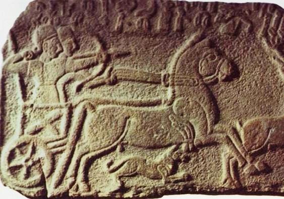 上图:迦南人的战车,适合在平原作战,但在山地就无法施展威力。所以当非利士人与扫罗决战时,要迂回到北方的耶斯列平原(撒上二十九1)。