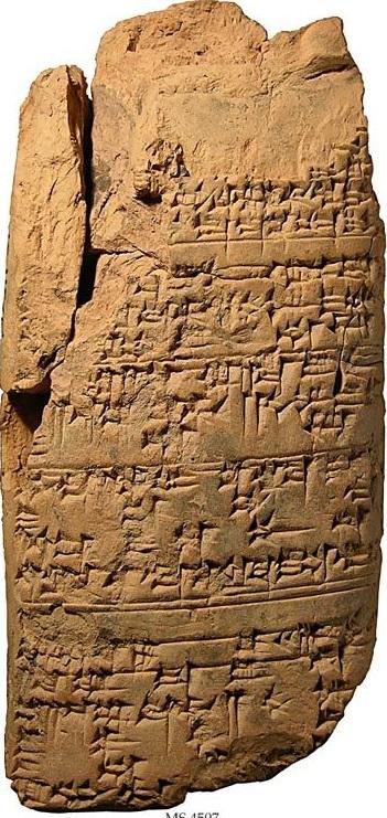 上图:主前1930年左右的苏美尔伊施嫩纳法典(Laws of Eshnunna),详述了以大麦或银子交付利息的兑换率。
