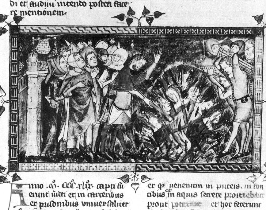 上图:1349年黑死病期间,欧洲人把犹太人当作替罪羊活活烧死(Royal Library of Belgium manuscript 1376/77)。1347年,欧洲爆发了黑死病,夺去了约30-60%人口的生命。被隔离在隔都(ghettos)里的犹太社区严格遵守利未记中的洁净条例,死亡率只有别的民族的一半。然而不好好读圣经的中世纪欧洲人不检讨自己糟糕的卫生习惯,却认为是犹太人投毒导致了黑死病,掀起了大规模迫害、屠杀犹太人的群众运动,许多地方政府也推波助澜。教宗克勉六世(Pope Clement VI ,1342-1352年在位)颁布两次教宗诏书来保护犹太人,但却无法阻止疯狂的群众和世俗政府。1348至1351年期间,大约发生了350次屠杀事件,摧毁了60个大犹太社区和150个小犹太社区,导致北欧的犹太人大规模迁往波兰和俄国,住在那里一直到二战爆发。
