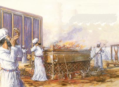 上图:祭司在会幕门口献祭的艺术想象图。亚伦无残疾的后裔才有资格承担祭司的职任,他们「不可从俗沾染自己」。