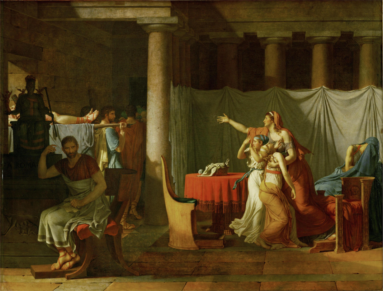 上图:法国大革命画家雅克-路易·大卫(Jacques-Louis David)1789年的油画作品《运送布鲁图斯儿子尸体的军士们 The Lictors Bring to Brutus the Bodies of His Sons》。布鲁图斯(Lucius Junius Brutus)是罗马共和国的建立者,担任罗马第一任执政官。他「按着公义审判」了参与密谋恢复帝制的两个儿子,下令处决了他们。画中的布鲁图斯背对着两个儿子的尸体,对国家大事作冷静的理性思考,而他的妻子和两个女儿却为亲情而悲痛不已。画家主张艺术为政治服务,用中间的柱子把画面分成两部分:左侧是国家利益、理性思考,这是他所推崇的;右侧是家庭价值、人伦亲情,这是他所批判的。这幅作品反映并鼓舞了法国大革命的「公义」思想,画家本人也按着这种人间的「公义」,投票把善良的法国国王路易十六(Louis XVI,1774-1791年在位)于1793年推上了断头台。而一年之后,宣布「路易必须死,因为共和国必须生」的雅各宾派革命领袖罗伯斯比尔(Maximilien de Robespierre),也被更「公义」的革命者送上了断头台。