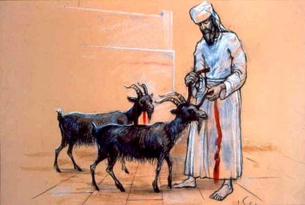 上图:大祭司在给两只山羊做记号。根据《他勒目 Talmud》记载,两只山羊要尽可能相像,要用朱红色线系在「归与阿撒泻勒」的羊角上,又系在「归与耶和华」的羊脖子上。犹太传统认为,如果在献祭和送走替罪羊之后,这条朱红色线变白了(the strip of crimson wool turn white),表明百姓的罪孽已经被赎。而在第二圣殿被毁之前40年,朱红色线停止变白,反而变得更为深红(《他勒目 Talmud》Rosh Hashana 31b, Yoma 39b)。