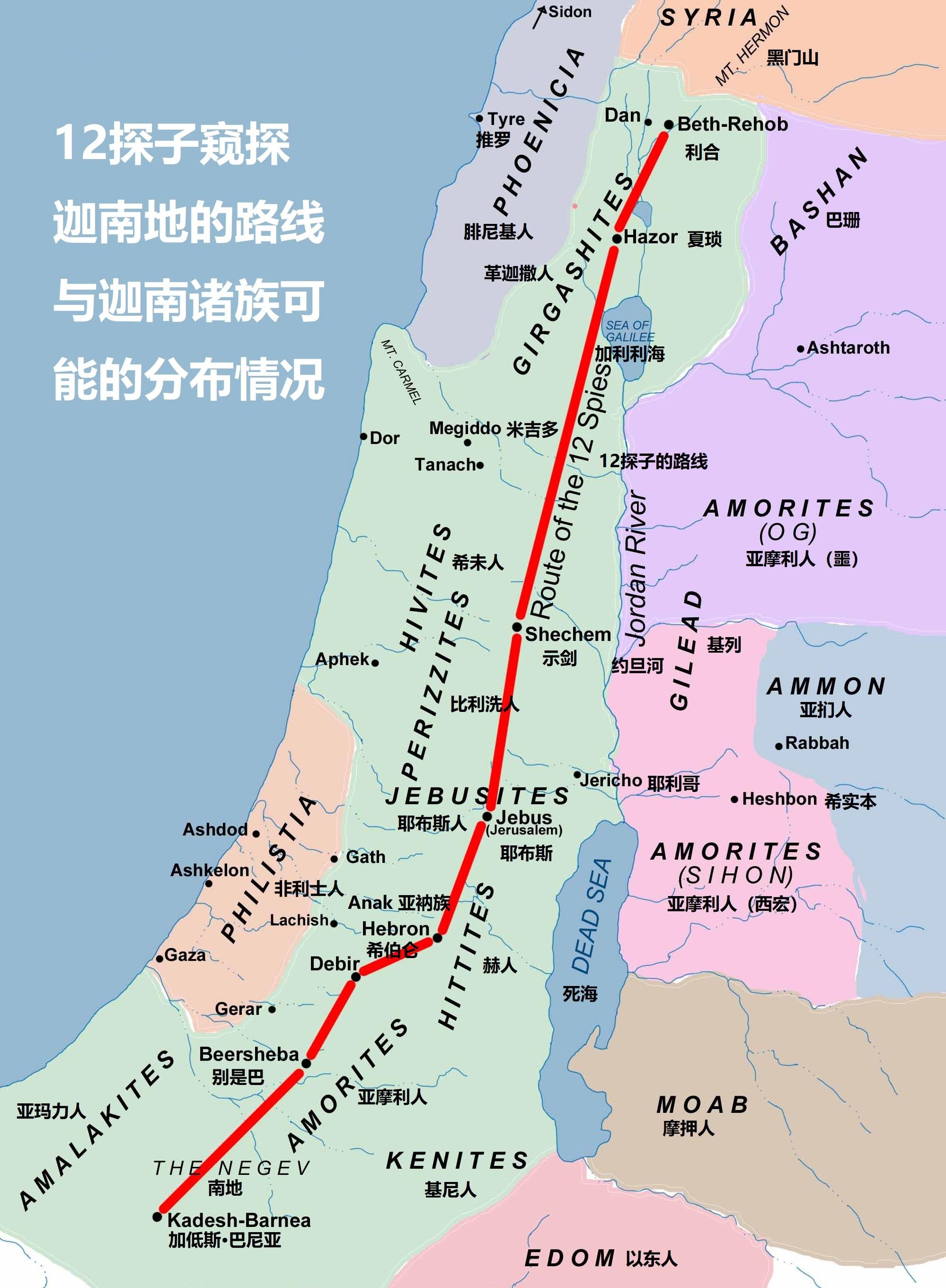 上图:迦南诸族和周边民族可能的分布情况。亚玛力人是以扫的后代(创三十六15),住在南地和西奈半岛一带(出十七8;撒上十五);赫人住在希伯仑一带(创二十三10);耶布斯人住在耶路撒冷(书十五63);亚摩利人住在希伯仑山地(创十四13);而其他的迦南人则住在地中海沿岸和约旦河谷。若没有神的带领,进迦南的道路确实是困难重重、充满了阻拦。