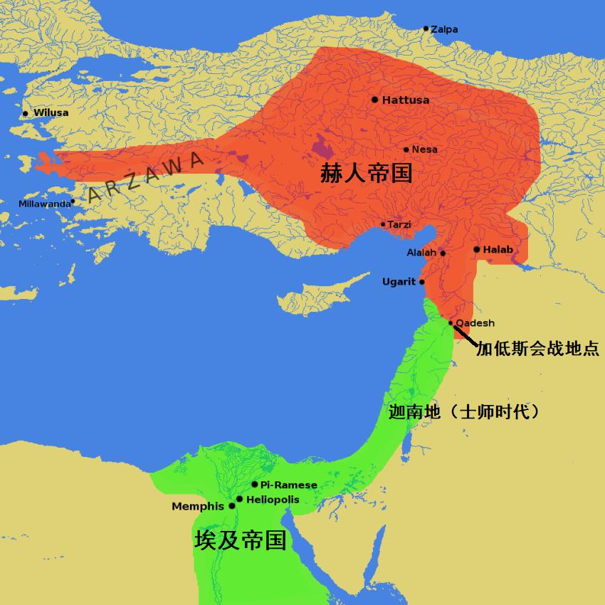 上图:加低斯战役形势图。主前1274年,古埃及第十九王朝的法老拉美西斯二世(Ramesses II)与赫人帝国(Hittite Empire)在奥伦特河(Orontes River)边的加低斯(今叙利亚的大马士革东北)爆发了加低斯战役(Battle of Kadesh),其中埃及参战兵力2万人,赫人参战兵力约2.3-5万人,双方均未取得决定性胜利。加低斯战役是古代军事史上有文字记载的最早的会战之一,战后缔结的《埃及赫梯和约》是历史上保留至今最早的有文字记载的国际军事条约文书。