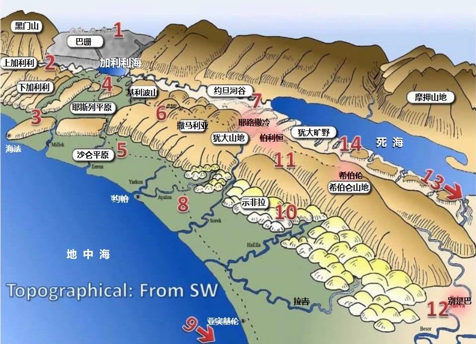 上图:以色列地形图。正如摩西所描述的,「那地有河,有泉,有源,从山谷中流出水来」(申八7)。