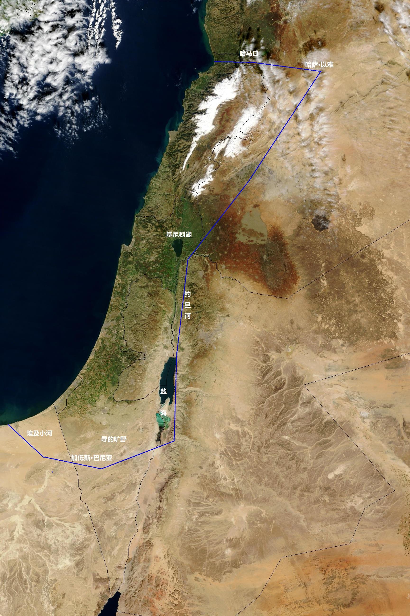 上图:在卫星照片上标出的应许之地示意图,南起埃及小河,北到哈马口,西至大海,东到约旦河,包括了今天的以色列、黎巴嫩和叙利亚的一部分。从卫星照片可以看出,在这个范围之外,大都是没有绿色的荒漠地带。