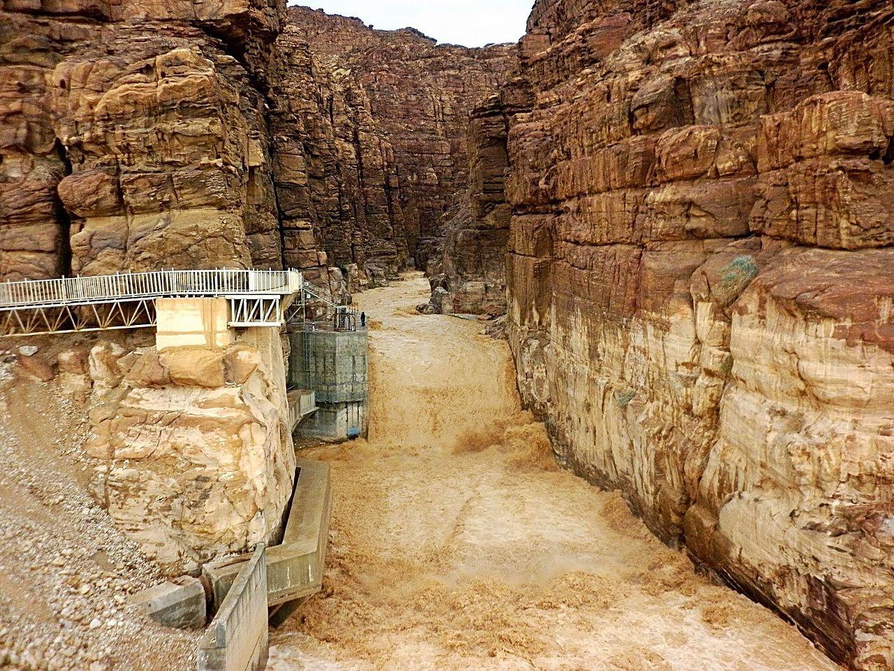 上图:亚嫩河谷底雨季的洪水。亚嫩河就是现代约旦的Wadi Mujib旱溪,河谷很深,从海拔900米一直到海平面以下400米的死海。1,300米的高度落差结合来自谷地7条支流的常年流水,使得这里有超过300种植物、10种肉食动物,以及许多永久性与季节性鸟类。