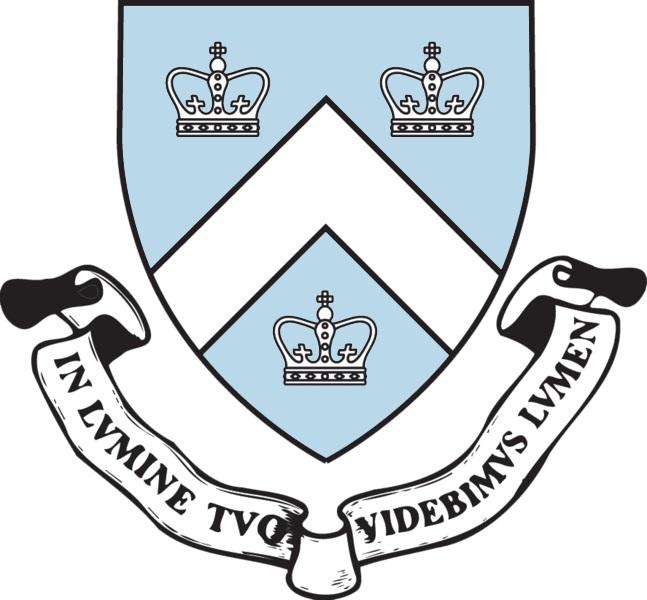 上图:纽约市哥伦比亚大学(Columbia University in the City of New York)的校徽,下方的绶带上用拉丁文写着校训:「在祢的光中,我们必得见光 In lvmine Tvo videbimvs lvmen」(诗三十六9)。哥伦比亚大学建于1754年,是常春藤联盟成员。
