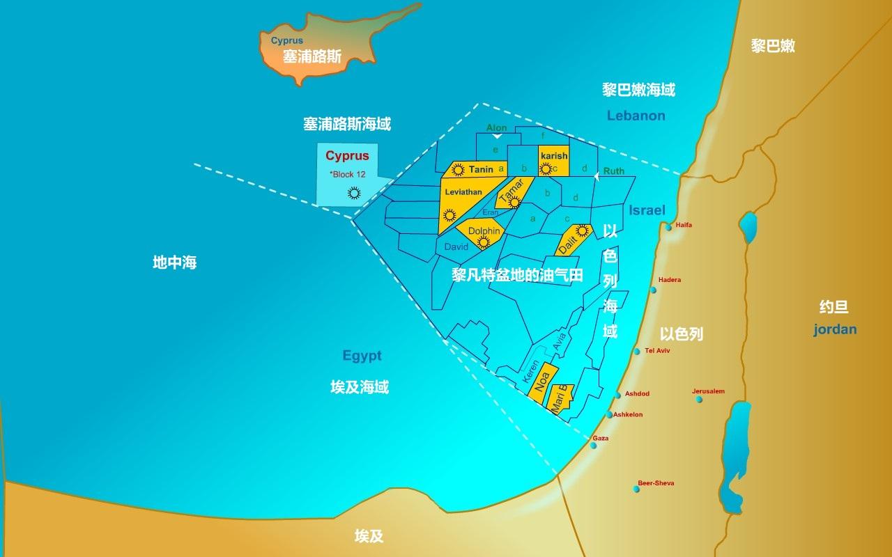 上图:1999-2013年间,人们在以色列海域的黎凡特盆地(Leviathan Basin)陆续发现了8个油气田,大部分位于靠近原来亚设支派土地的海域。其中最大的是美国Noble公司2010年发现的黎凡特油气田(Leviathan Gas Field),位于海法以西130公里。根据2017年的保守估计,这个油气田可供以色列国内使用40年。